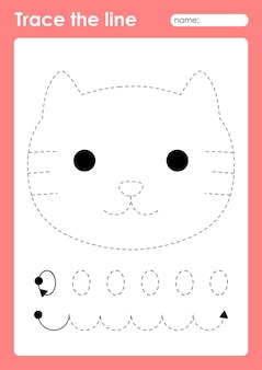Кошка - рабочий лист дошкольного образования для детей для тренировки мелкой моторики