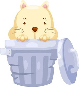 Cat in trashcan illustration