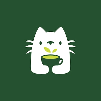 고양이 나무 음료 컵 부정적인 공간 로고 벡터 아이콘 그림