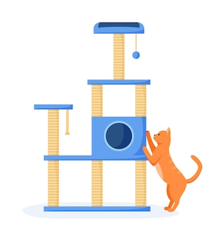 Cat tree or house with scratching posts cat interested in cat tower and scratching it