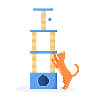 Cat tree or house with scratching posts cute red cat interested in cat tower cats playground