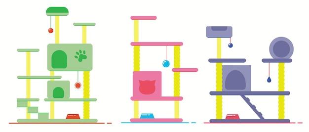 고양이 집이 있는 고양이 나무. 캣타워와 스크래칭 포스트. 애완 동물 가구.