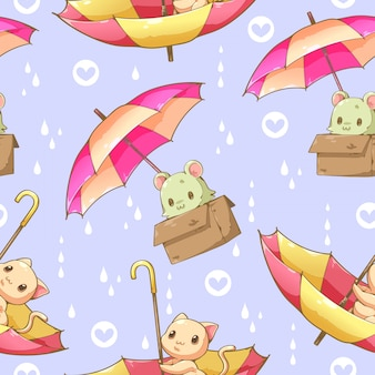 Cat and umbrella cartoon design seamless pattern