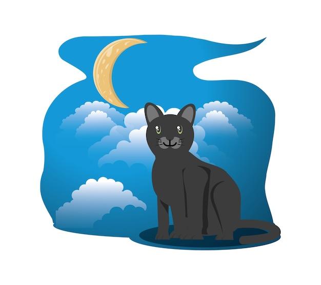 Кошка под луной