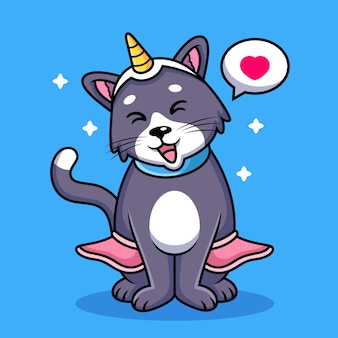 귀여운 포즈와 고양이 유니콘 만화. 동물 아이콘 그림