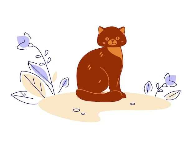 Cat. vector illustration in flat cartoon style.