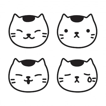 Cat vector kitten head cartoon doodle