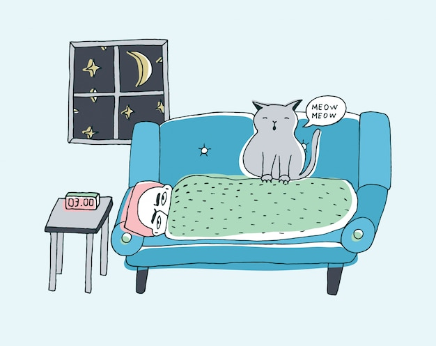 The cat wakes the owner, meowing at night. cute hand drawn doodle illustration.
