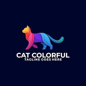 Cat walking colorful design logo