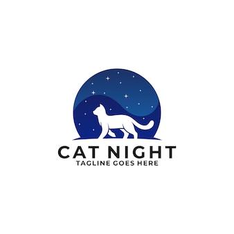 Cat walking night logo