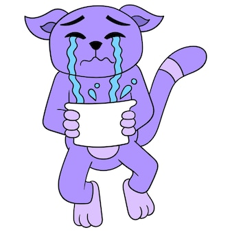 The cat was sad crying sobbing with tears spilling in the basin, vector illustration art. doodle icon image kawaii.