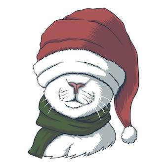 クリスマスにサンタの帽子をかぶった猫