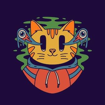 猫はパーカーを着ています