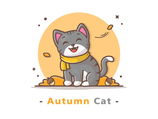 Cat wearing scarf in autumn season