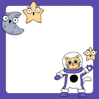 Cat wearing space suit with stars and moon cute cartoon illustration