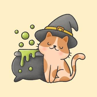 거품 마녀 모자와 독 냄비를 입고 고양이