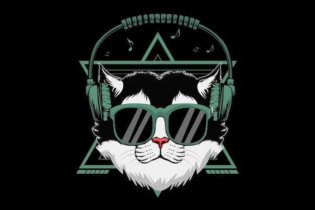 Cat wears headphones illustration design