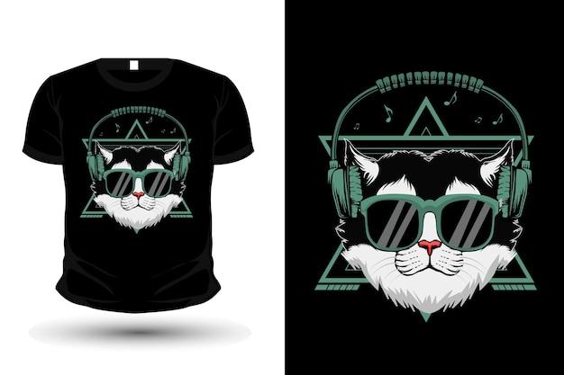 Кот носит наушники иллюстрации дизайн рубашки