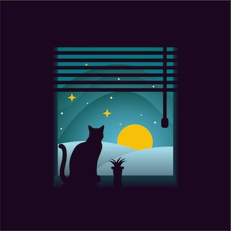 Cat at the window at night