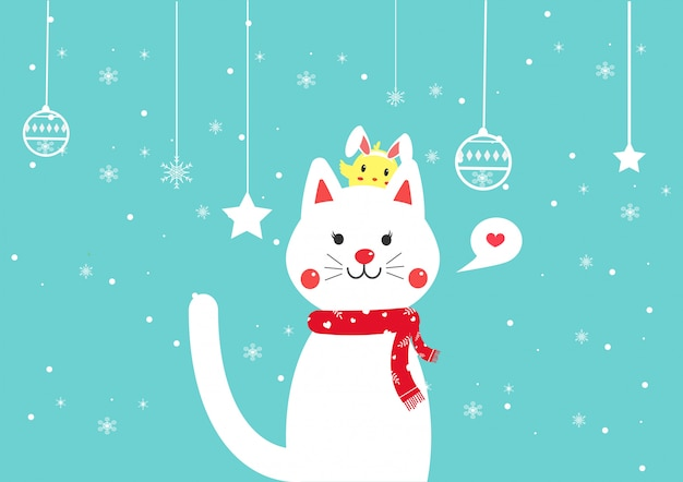 Cat winter cartoon vector