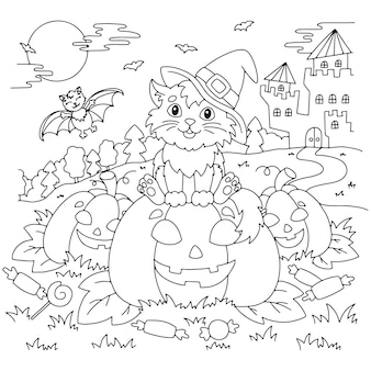 A cat in a witch hat sits on a pumpkin at night halloween theme coloring book page for kids
