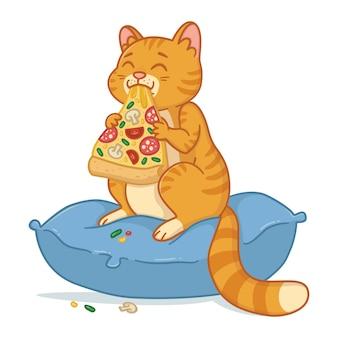 ピザのスライスを持つ猫。