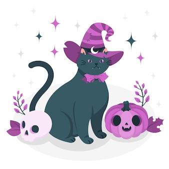 마녀 모자 컨셉 일러스트와 함께 고양이