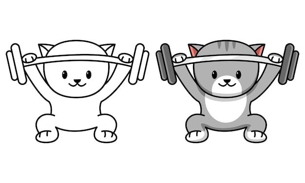 Cat with barbell coloring page for kids