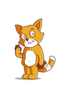Cat with biscuit cartoon illustration