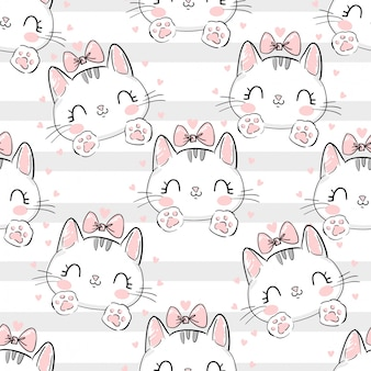 Cat with a bow pattern.