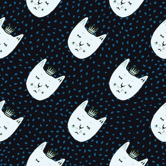 Cat with crowns seamless naive doodle pattern. black background with blue dots and white faces animals print.
