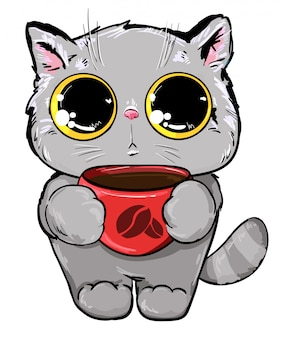 Cat with a cup of coffee illustration