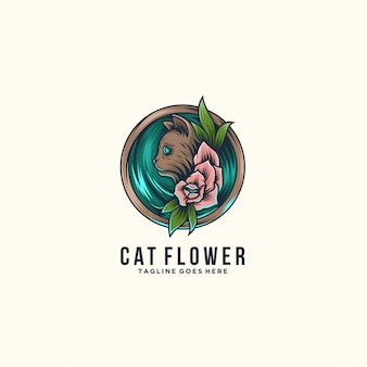 Cat with flowers beautiful pose illustration  logo.