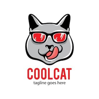 안경 벡터 로고와 함께 고양이