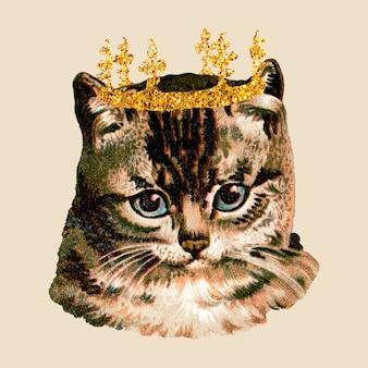キラキラの王冠のステッカーが付いている猫
