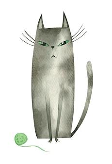 Кот с зелеными глазами и вязальным мячом