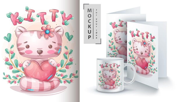 Cat with heart poster and merchandising