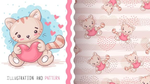 ハート-シームレスなパターンを持つ猫。手描き