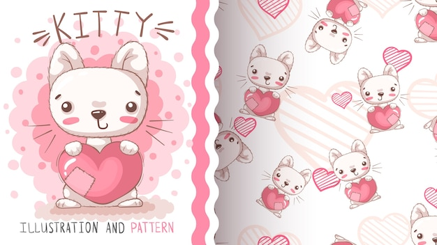 Cat with heart seamless pattern. hand draw