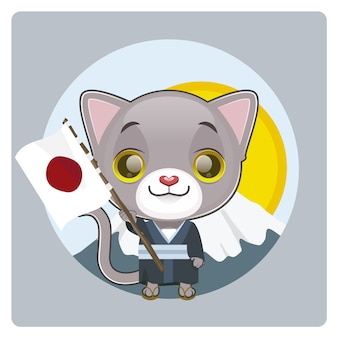 Cat with japanese flag background