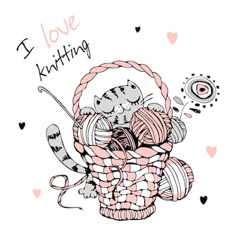 Cat with a large basket of balls of yarn for knitting