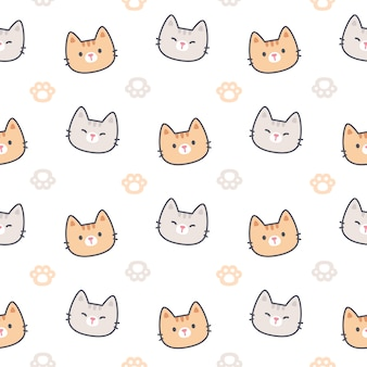 Cat with paws footprint seamless pattern