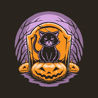 Cat with pumpkin halloween concept illustration