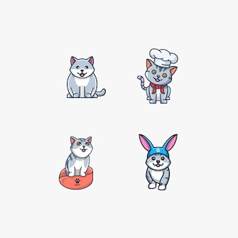 Cat with rabbit pose cute illustration