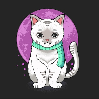 Cat with scarf greetings winter illustration