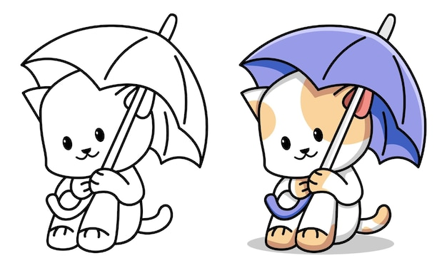 Cat with umbrella coloring page for kids