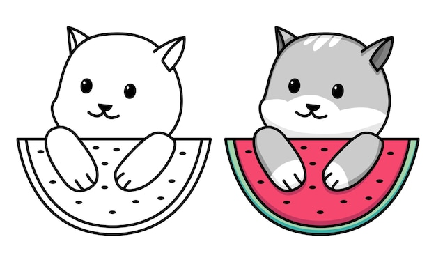 Cat with watermelon coloring page for kids