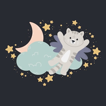 Cat with wings flies past the cloud, the moon, and stars. dark background.  print for baby room, greeting card, kids and baby t-shirts and clothes, wome swear. good night nursery illustration.