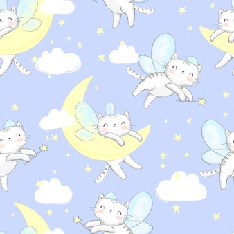 Cat with wings is sleeping on clouds seamless pattern
