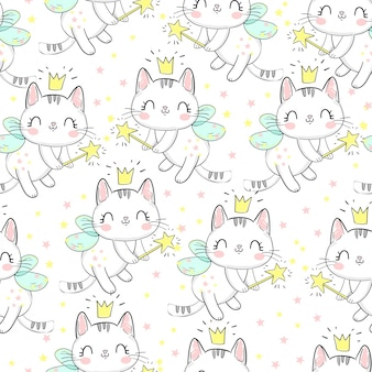 Cat with wings and wand pattern.